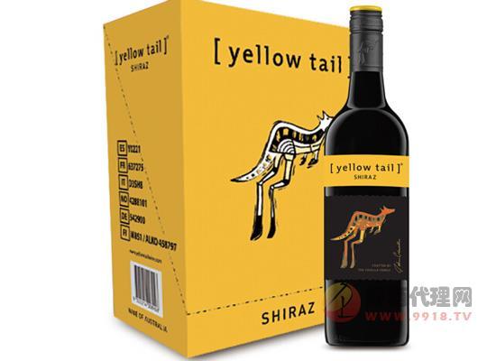 澳大利亞進口黃尾袋鼠西拉紅葡萄酒750ml箱裝價格