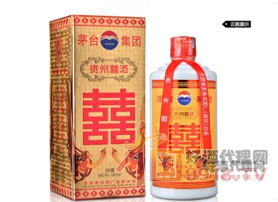 38度茅臺貴州囍酒(2003-2004年)正面展示