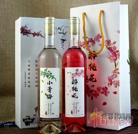 三生三世桃花醉酒小青梅果酒500ml-低度甜紅酒2支禮盒裝