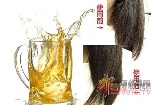 啤酒洗头发前后对比图片